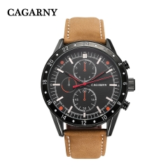 CAGARNY 6828 Original Men's Sports Leather Strap Quartz Date Wrist Watch