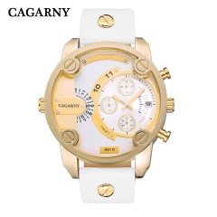 CAGARNY 6819 Original Men's Sports Leather Strap Quartz Date Wrist Watch