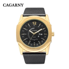 CAGARNY 6838 Original Men's Sports Leather Strap Quartz Date Wrist Watch