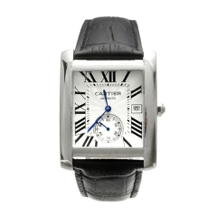 Black Leather Strap Silver Bezel Silver Dial Automatic Watch