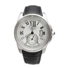 Black Leather Strap Silver Bezel White Dial Automatic Watch