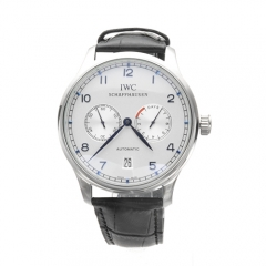 Black Genuine Leather Stainless Steel Case White Dial Blue Numerals Portuguese Automatic Watch