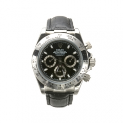 Black Leather Strap Stainless Steel Care and Bezel Black Dial Daytona Automatic Watch