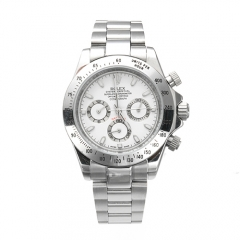 Stainless Steel Bracelet Silver Case and Bezel White Dial Daytona Automatic Watch