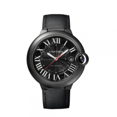 Canvas Exterior Genuine Leather Interior Strap Black Dull Polished Bezel and Case Black Dial Ballon Bleu Automatic Watch
