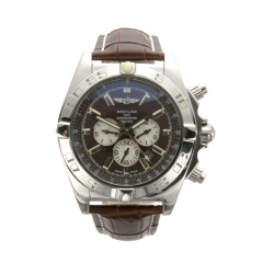 Brown Genuine Leather Strap Stainless Steel Bezel and Case Brown Dial Chronomat B01 Automatic Watch