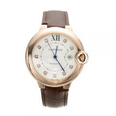 Brown Genuine Leather Strap Rose Gold Stainless Steel Case White Dial Ballon Bleu Automatic Watch