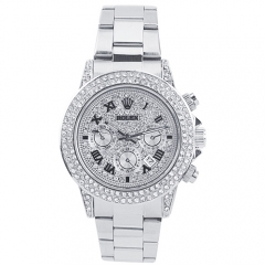 Stainless Steel Bracelet Crystal Studded Bezel Date Display Daytona Quartz Watch
