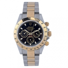 Double Toned Steel Bracelet Gold Plated Bezel Sapphire Crystal Face Daytona Automatic Watch