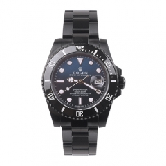 Ion Coated Bracelet Black Ceramic Bezel Sapphire Crystal Face Submariner Automatic Watch