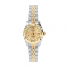 Double Toned Stainless Steel Bracelet Gold Bezel Silver Case Classic Women Automatic Watch