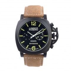 Brown Leather Strap Ion Plated Bezel and Case Black Dial LUMINOR 8 Days Automatic Watch