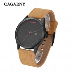 CAGARNY 6850 Original Men's Sports Leather Strap Quartz Date Wrist Watch