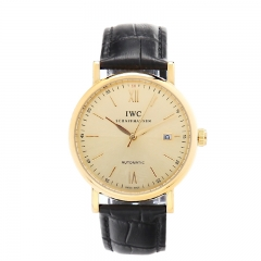 Black Genuine Leather Strap Gold Plated Case Gold Dial Date Display Portofino Automatic Watch