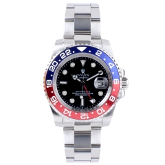 Stainless Steel Bracelet Two Toned Bezel Black Dial Silver Strap GMT MASTER II Automatic Watch